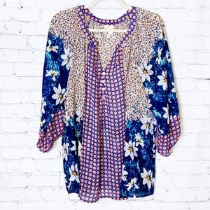 Anthro fig and flower Floral Print Blouse